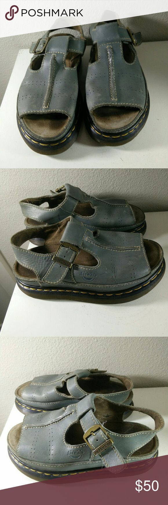 Dr. Martens Air Wair Sandals Blue Gray Slingback Great pair of vintage sandals - showing signs of wear/imperfections in places but still in good wearable condition - Made in England not China!  Perfect for summer!!! Dr. Martens Shoes Sandals