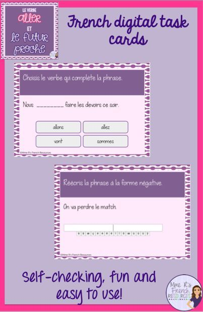 """Do your students need practice conjugating the verb """"aller""""? These DIGITAL TASK CARDS are perfect for using the verb aller with the futur proche. You'll get a mix of multiple choice and short answer. For short answer questions, students conjugate the verb aller or change an existing sentence to the negative form. They are even self-checking!"""