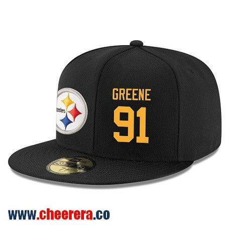Pittsburgh Steelers #91 Kevin Greene Snapback Cap NFL Player Black with Gold Number Hat