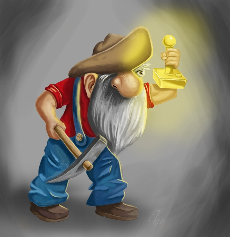 """PixelProspector Art """"Grumpy PixelProspector Uses His Candlelight Joystick To Find The Gold In The Darkness"""" by Roger Renno"""