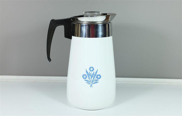 Cafetière percolateur vintage Corning Ware motif Corn Flower contenance de 9 tasses - Percolateur fleur bleues Corning Ware by Decadisme on Etsy