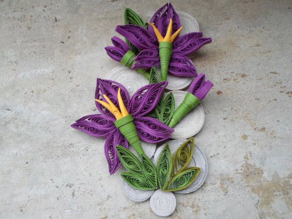Purple Paper Flowers Wall Art Quilled Wall Hanging Home