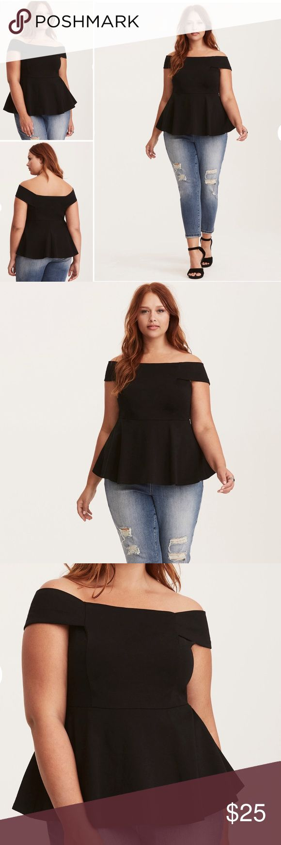 ONLY 1 LEFT!! I Off Shoulder Peplum Top 🖤 PRICE IS FIRM UNLESS BUNDLED.   Black is the new black and this top is the new everything. Sophisticated enough for any nightly event, the LBT (little black top) is curve-hugging knit with a little bit of stretch. A peplum flare is a tummy concealer, while the off shoulder sleeves flash some skin. torrid Tops Blouses
