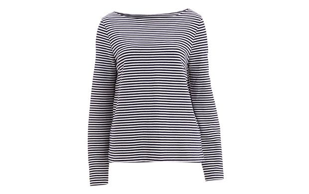 "Striped Long-Sleeve Top. ""A wardrobe classic, this thin striped long-sleeved style will see you through the season."""