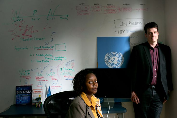 Makena Walker, deputy director, and Robert Kirkpatrick, director, of the United Nations Global Pulse team are working to improve monitoring in poorer nations for humanitarian aid programs.