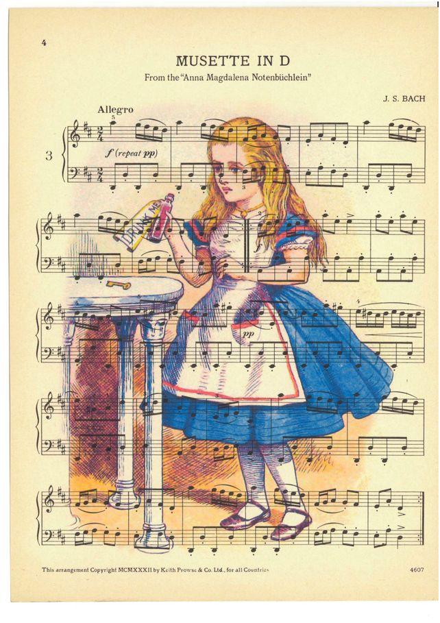 Alice in Wonderland sheet music print