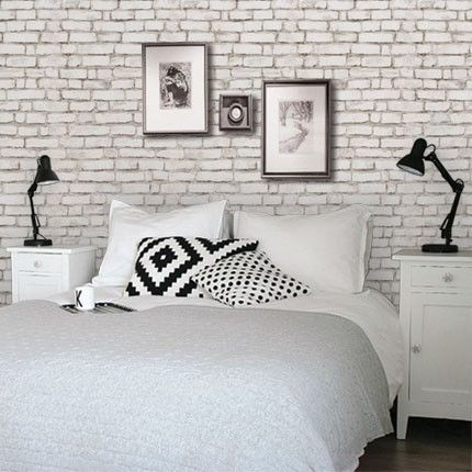 white brick wallpaper | peels off walls without damaging paint -- great for rentals.