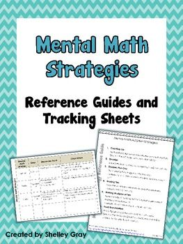 FREE! Mental Math Reference Guide and Tracking Sheets