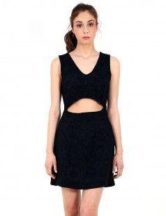 Black front cut out texture dress-  Little black dress