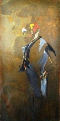 L'home au costume - peinture sur plaques de métal oxydé