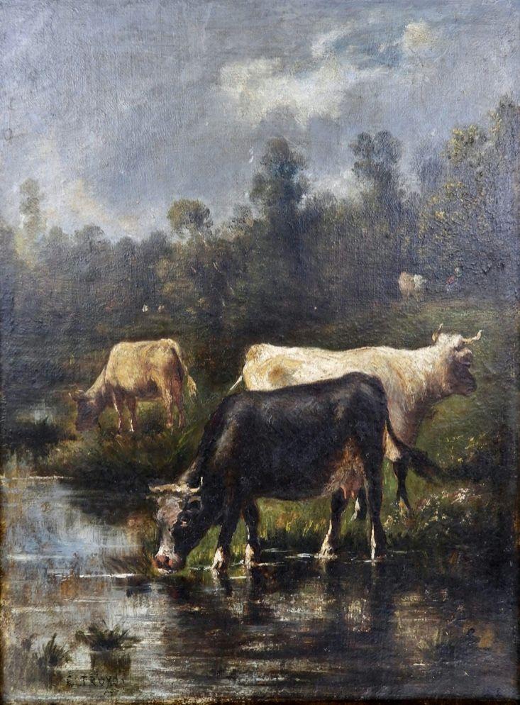 Constant Troyon 1810 1865 Les Vaches A L Etang Antique Art