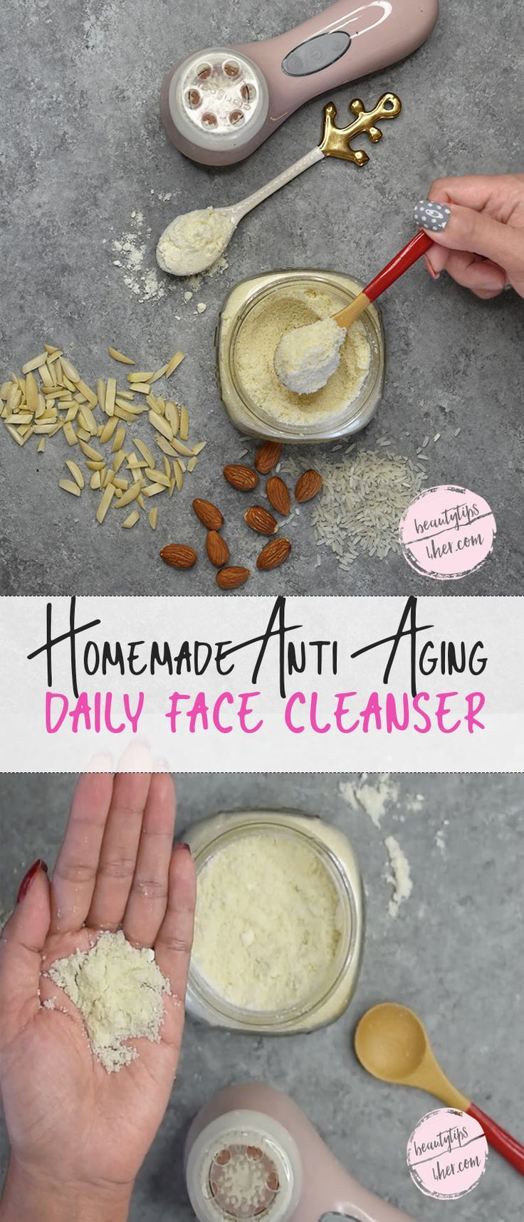 This homemade face cleanser not only moisturizes the skin, it also exfoliates it. Thus, removes the dead skin cells and retain moisture while exposes new skin cells that do, plumping your skin and giving it a more youthful look.