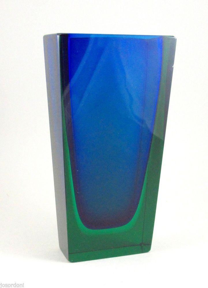 Stunning!! Hadeland Norway Blue Cased Green Studio Glass Vase #7014 Severin Brorby c1956-67