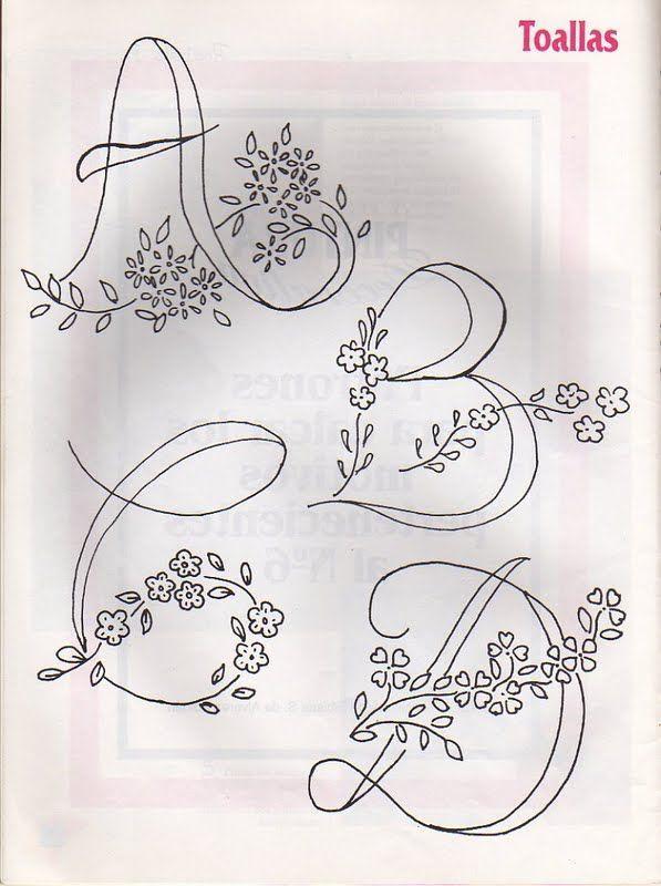 Moldes Para Artesanato em Tecido: Alfabetos para Bordar e Pintar #embroidery #monogram