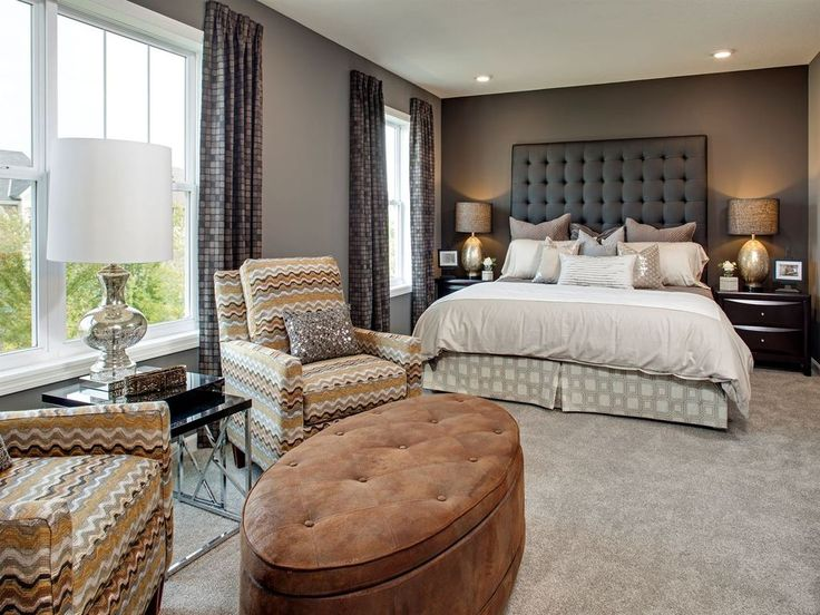Contemporary Master Bedroom with Upholstery Fabric, Drapery Fabric, Chevron Fabric, High ceiling, Carpet