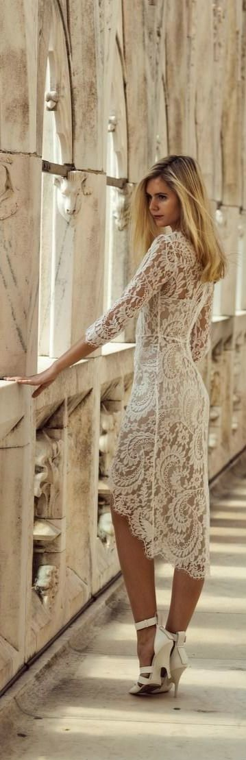 Pretty white lace dress with heels
