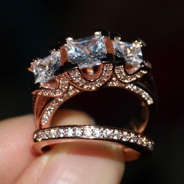 2016 Nueva Joyería Caliente Tres Piedras Impresionante 925 oro de Rose plateado CZ Mujeres Nupcial del anillo de Bodas de Diamante Sz5-11