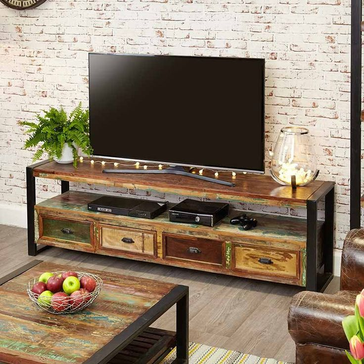 Urban Chic Reclaimed Wood Open Widescreen Television Cabinet -  - TV Unit - Baumhaus - Space & Shape - 3