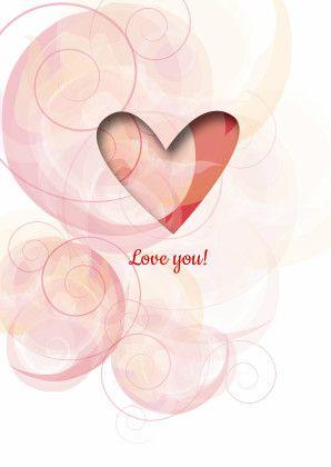 Gevoelige tinten pastel roze & rood, Een sfeervol hart om je geliefde te laten weten dat je van hem/haar houdt. Ook binnenzijde is mooi vormgegeven.