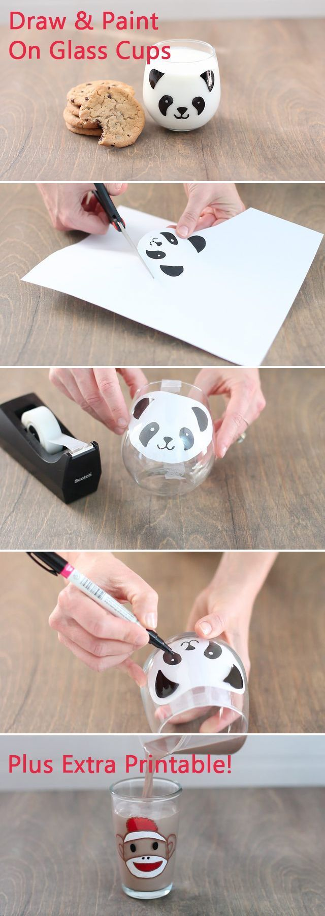 How adorable are these Panda (and sock monkey) glass milk cups! After drawing on the panda with our stencil, the milk fills in the rest! Just in time for Kung Fu Panda,  make these Panda cups at home with the kids and they'll LOVE drinking their milk.  Both printables available for free here: www.ehow.com/...
