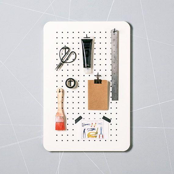 Metal Peg Board Organizer – Kitchen Organizer – Kitchen Planner - Magnetic bulletin board - Hook Board – Jewelry Organizer - Pegboard