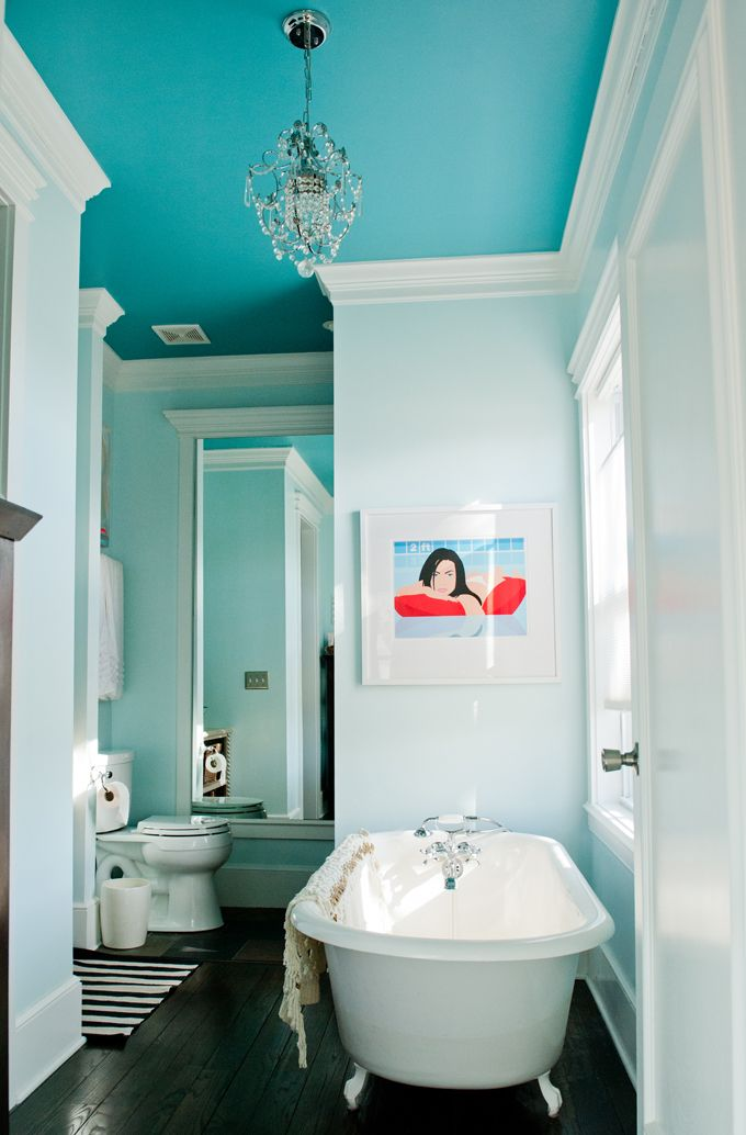 """Bathroom Ceiling: Benjamin Moore """"Peacock Blue""""  House of Turquoise: Guehne-Made"""