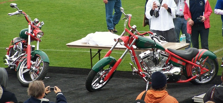 In 2008, we had the first international rugby league game in Jacksonville when the South Sydney Rabbitohs took on the Leeds Rhinos. The guys from Orange County Choppers were there to present these custom bikes to Russell Crowe.