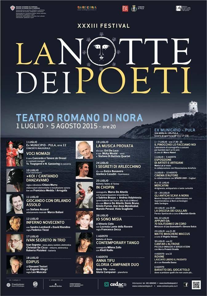 XXXIII FESTIVAL LA NOTTE DEI POETI – TEATRO ROMANO -NORA – 1 LUGLIO -5 AGOSTO 2015