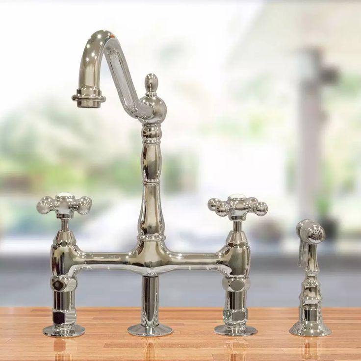 Randolph Morris Bridge Style Kitchen Faucet With Metal Cross Handles