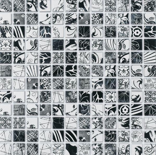 Lhådös kakel Jambi Svart/vit mosaik 2,5 x 2,5 cm   Stonefactory.se