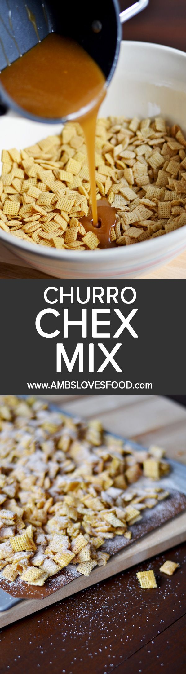 The best of churros without the fried oil, this Churro Chex Mix recipe is sweetened with caramel coating and covered in loads of cinnamon sugar.