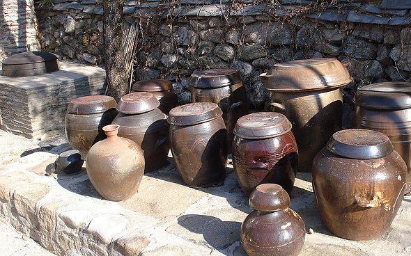 Onggi pots, no doubt packed with kimchi. | Inside a Korean kitchen - Matador Network