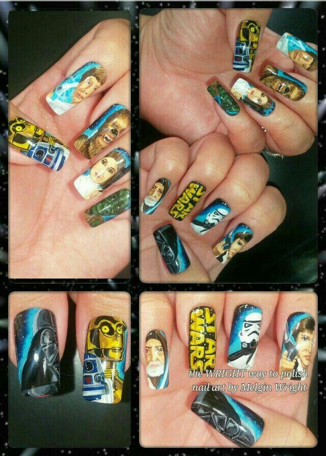 Star Wars hand painted nail art by Melgin Wright!http://www.facebook.com/TheWrightWayToPolishNailArtByMelginWright
