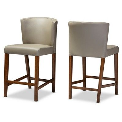 "Olivia Mid - Century Modern Scandinavian Style Wood Faux Leather Pub Stool - ""Walnut"" Dark Brown - Baxton Studio"