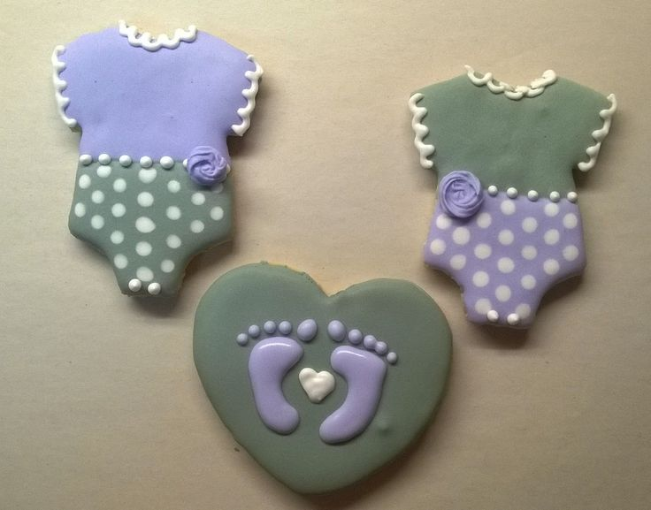 Baby shower cookies - Grey &  Purple heart with baby feet and Babygrow