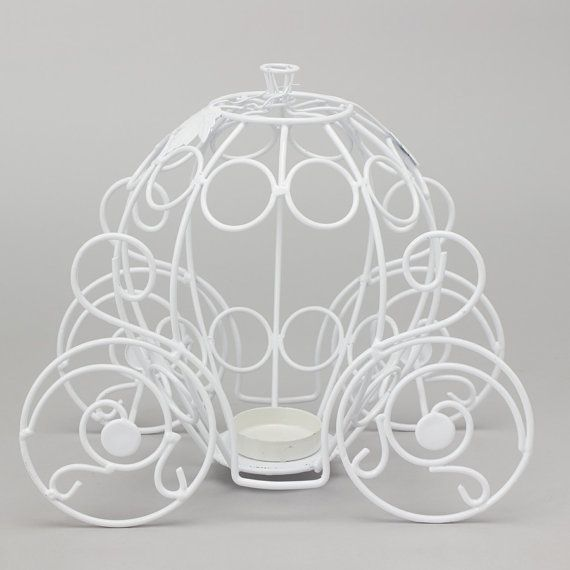 Metal Pumpkin Carriage 10 in white by CODWholesale on Etsy