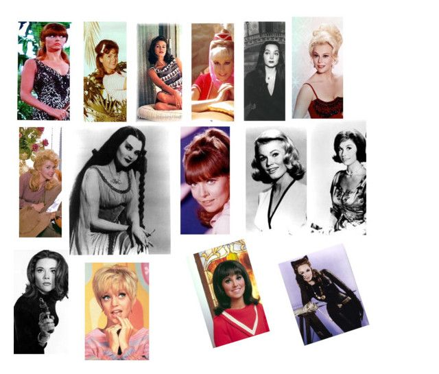 60s characters by featherluv on Polyvore featuring art and 60s lily munster yvonne de carlo donna douglas beverly hillbillies mary ann ginger gilligans island