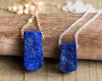 Collier de Lapis brut, Lapis Lazuli bijoux, Lapis Bar collier, collier Pierre bleu Royal, bleu Pierre collier, bijoux en cristal brut