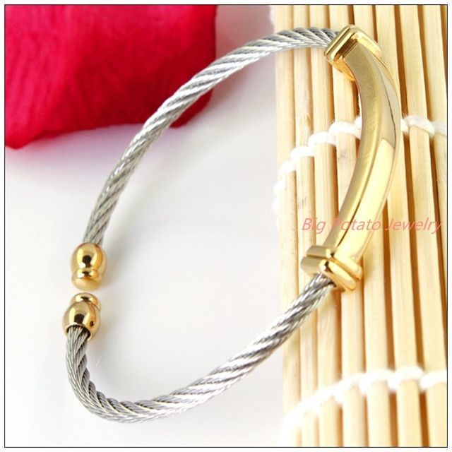 Stainless Steel Silver,Gold,Black Twisty Wire Cable Mens/Womens Bracele