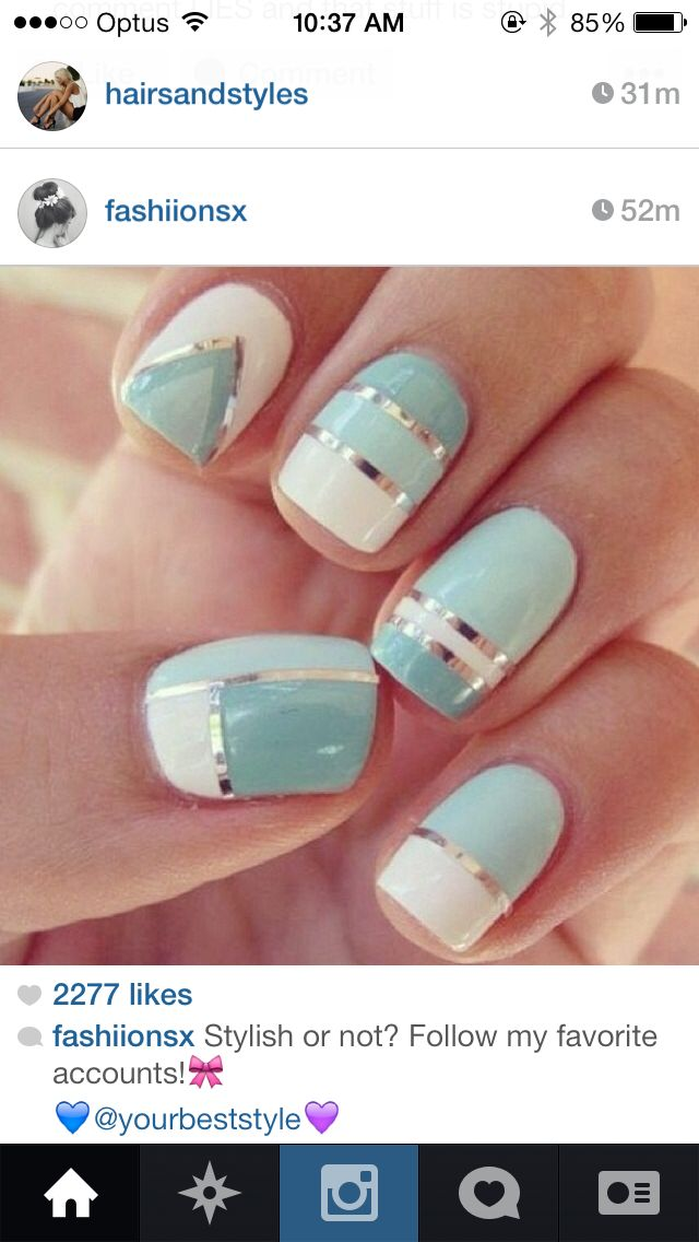 Tiffany Co inspired nails