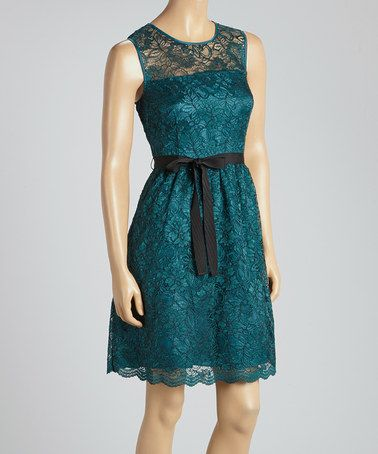 Loving this Emerald & Black Lace Sleeveless Dress on #zulily! #zulilyfinds