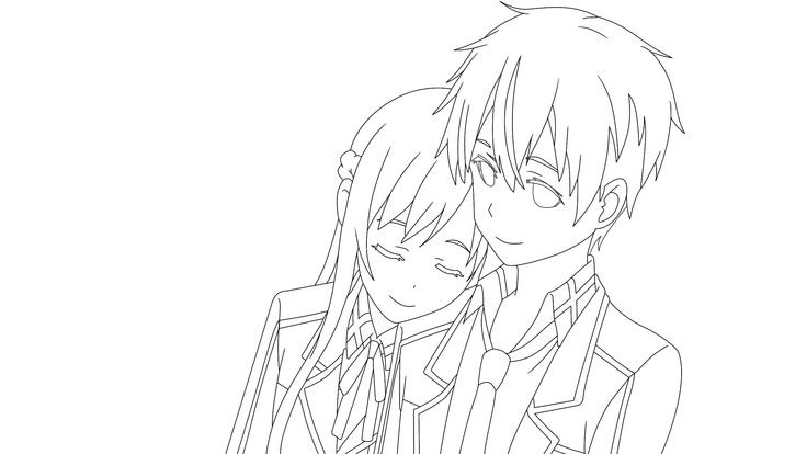 how to draw kirito and asuna kissing step by step