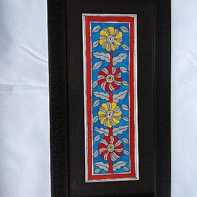 Mithila Painting of Flowers