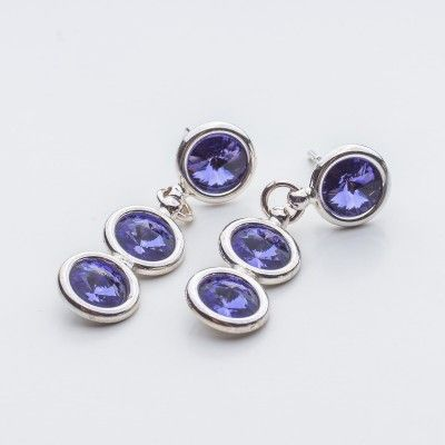 Swarovski Rivoli Earrings 6/6/6mm Tanzanite  Dimensions: length: 3,2cm stone size: 6mm Weight ( silver) ~ 3,30g ( 1 pair ) Weight ( silver + stones) ~ 3,95g Metal : sterling silver ( AG-925) Stones: Swarovski Elements 1122 SS29 ( 6mm ) Colour: Tanzanite 1 package = 1 pair  Price 9 EUR