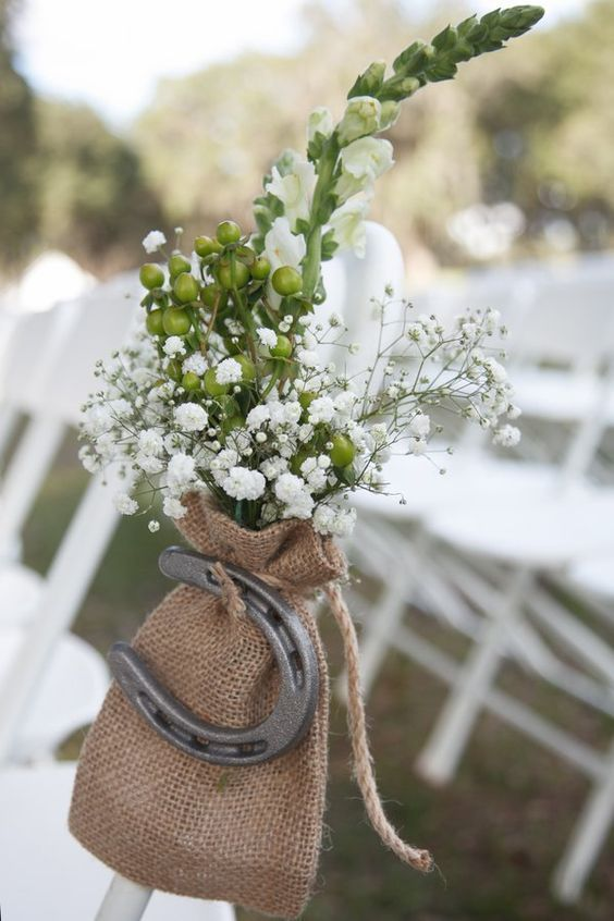 farm wedding with burlap baby's breath and horseshoe ideas /  /http://www.deerpearlflowers.com/rustic-farm-wedding-horseshoe-ideas/