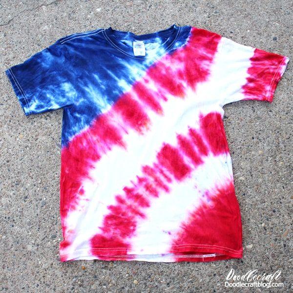 Patriotic Usa Flag Tie Dye Shirt Tutorial In 2020 Tie Dye Shirts Designs Diy Tie Dye Shirts Tie Dye Shirts Patterns
