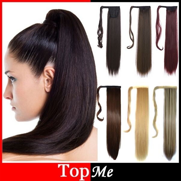 """Woman Ponytail Fashion Hairpiece 22"""" 55cm Long Magic Paste Straight Synthetic Lady Ponytails Hairs Extension Girls Pony Tail"""