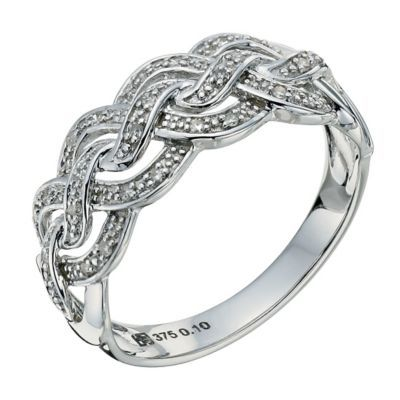 9ct white gold diamond wave ring - Ernest Jones