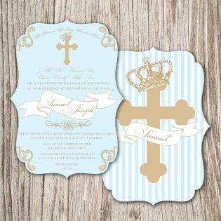 Royalty Cross/Crown Baptism Invitation {blue}