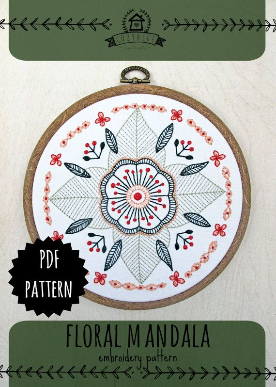 cozyblue :: floral mandala embroidery pattern :: PDF download or pre-printed kit, comes with hoop and floss